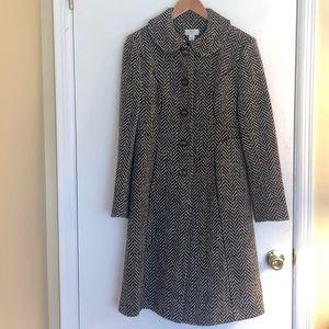 Ann Taylor Loft Black & White Long Wool Tweed Coat